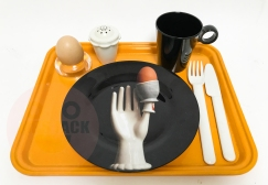 MRS JACK BREAKFAST TRAY-C Ready-set for breakfast in bed. 1 unbreakable couvert on a yellow camtray. Including the Mrs Jack exclusive 'Surreal Egg Plate' in melamine.