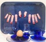 blue breakfast tray
