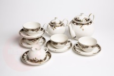 zsolnay tea tray, including 1 extra cup and saucer
