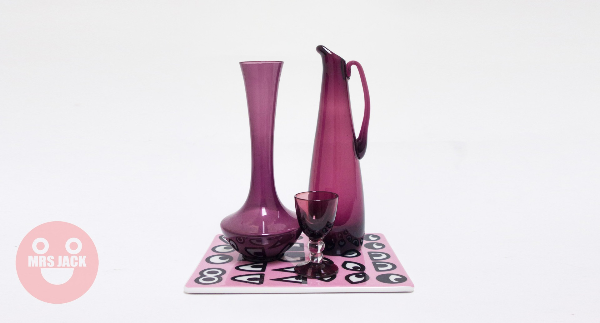 TRIO PURPLE GLASS VASES