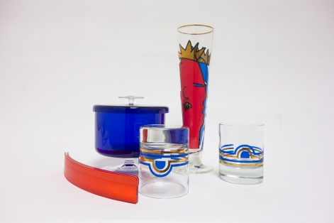 RED WHITE & BLUE GLASSWARE