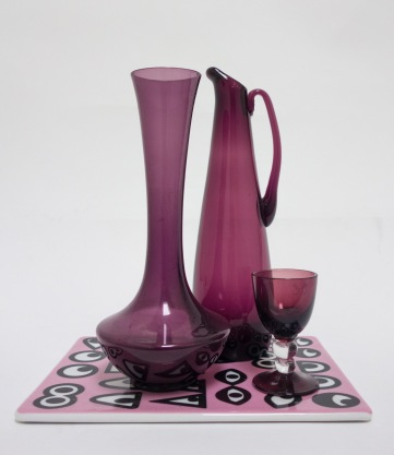 TRIO PURPLE GLASS VASES