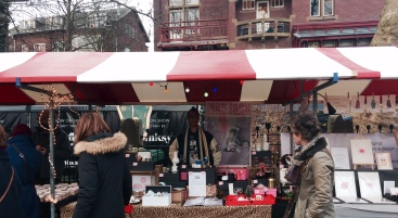 Mrs Jack on the road. At the Museum Market in Amsterdam